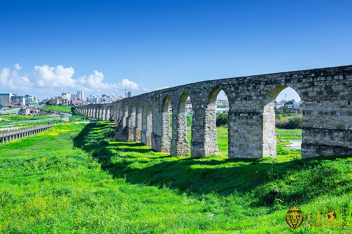 View of the popular landmark Kamares Aqueduct, Larnaca, Cyprus