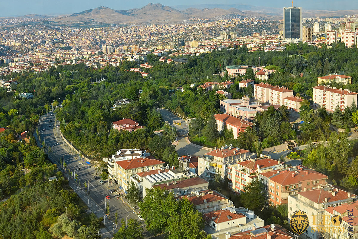 Aerial view of streets and buildings in Ankara
