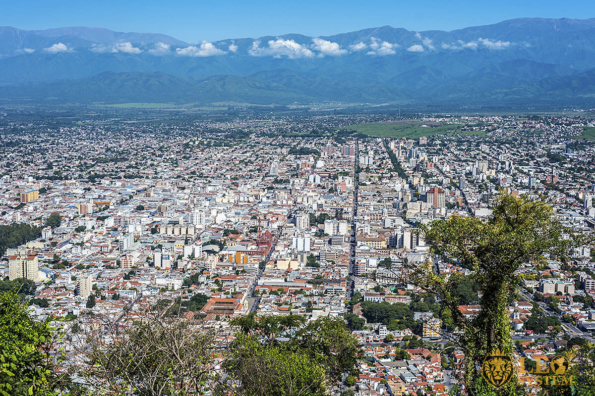 Panoramic top view of the city of Salta, Argentina