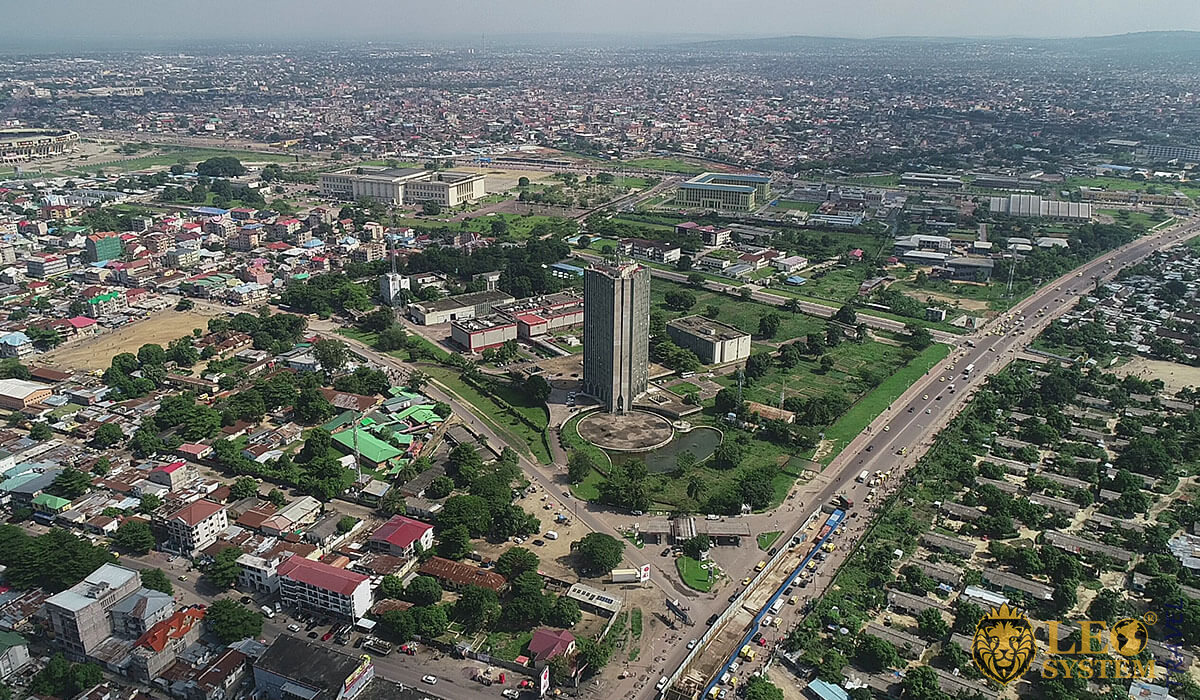 Panoramic aerial view of the city of Kinshasa, Republic of the Congo