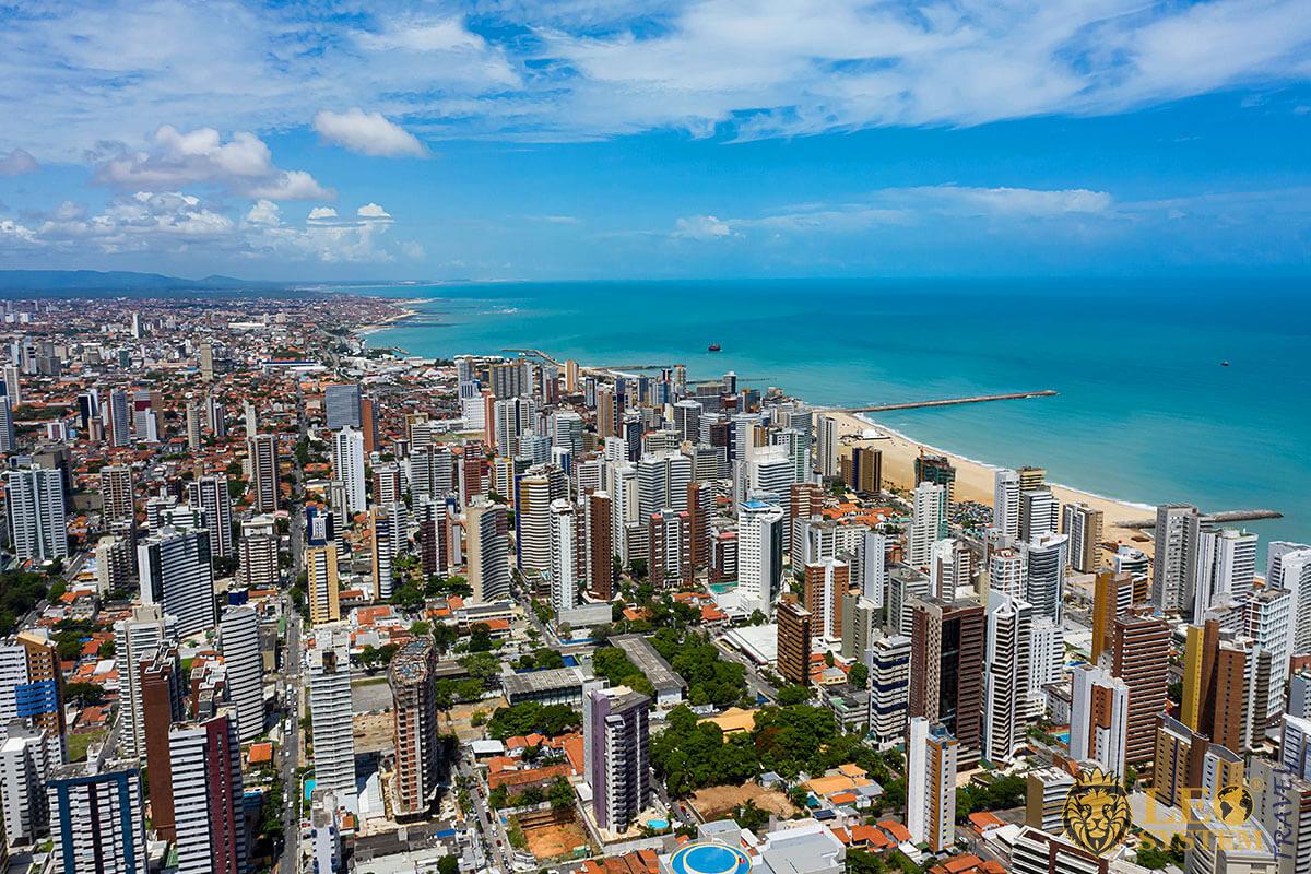 Aerial view of buildings and beach in the city of Fortaleza, Brazil