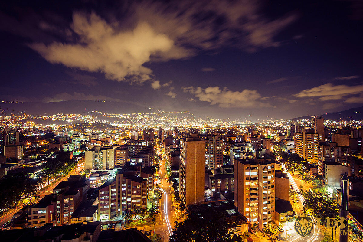View of the night city of Medellin, Colombia
