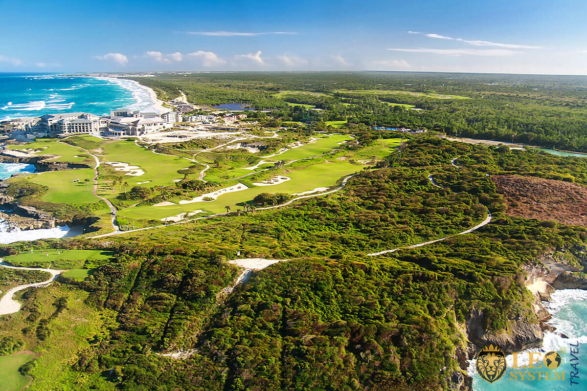 Panoramic aerial view of the city of Punta Cana, Dominican Republic