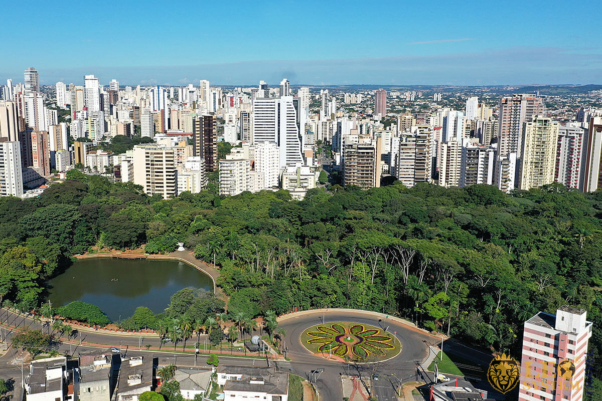 Aerial view of the city and Park in Goiania, Goias, Brazil