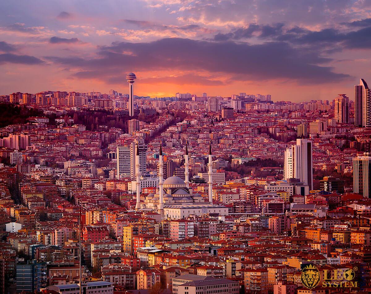 Panoramic view of the evening city of Ankara
