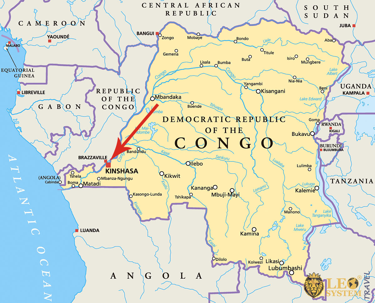 Image maps with a pointer to the location of the city of Kinshasa, Republic of the Congo