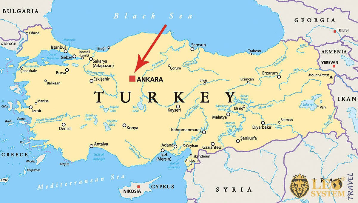 Image maps with a pointer to the location of the city of Ankara, Turkey