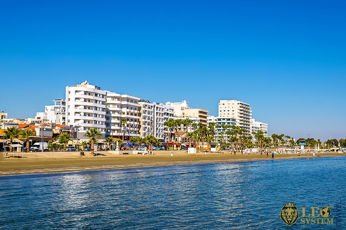 Great view of the beach in Larnaca, Cyprus
