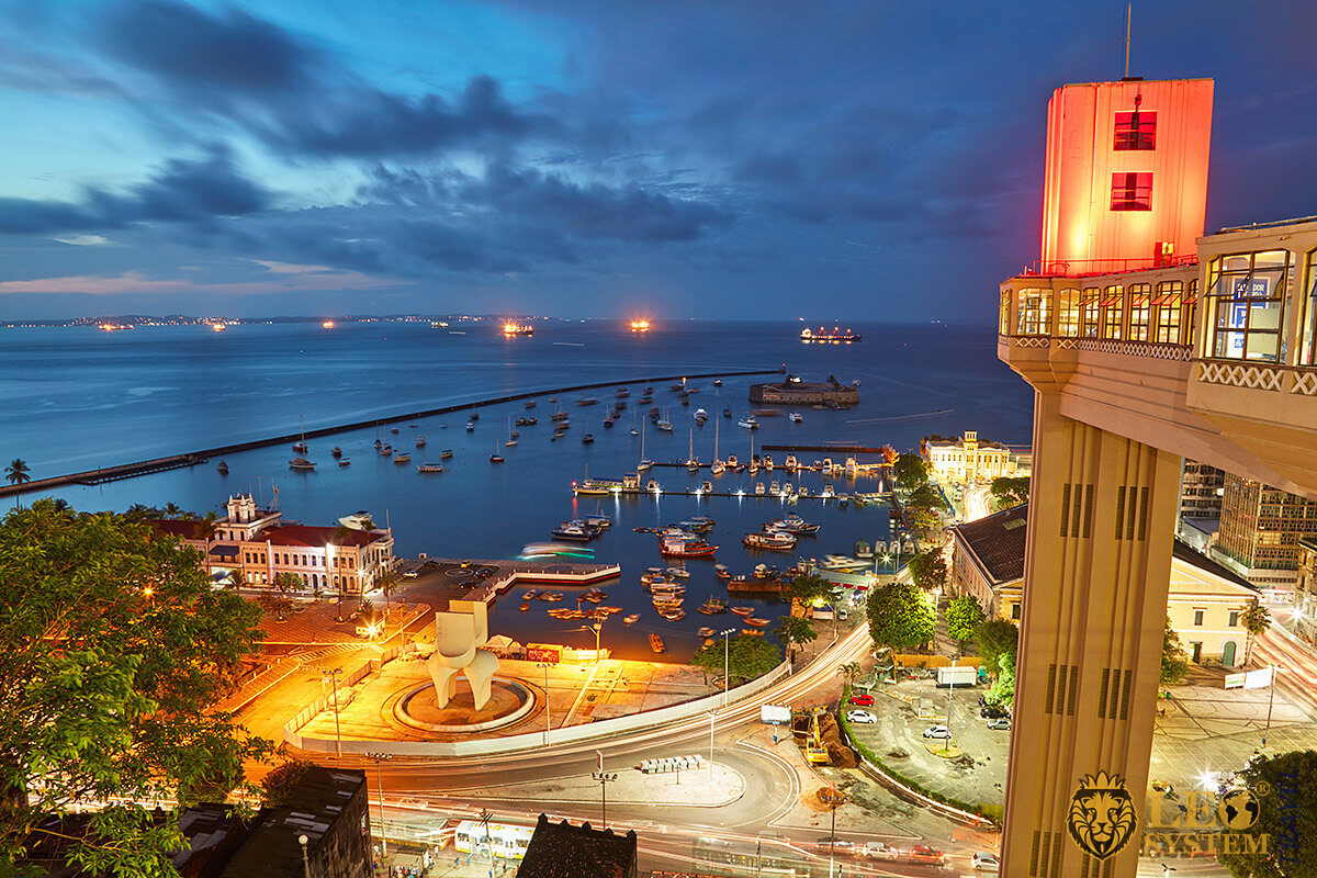 Night panoramic view of the port in the city of Salvador