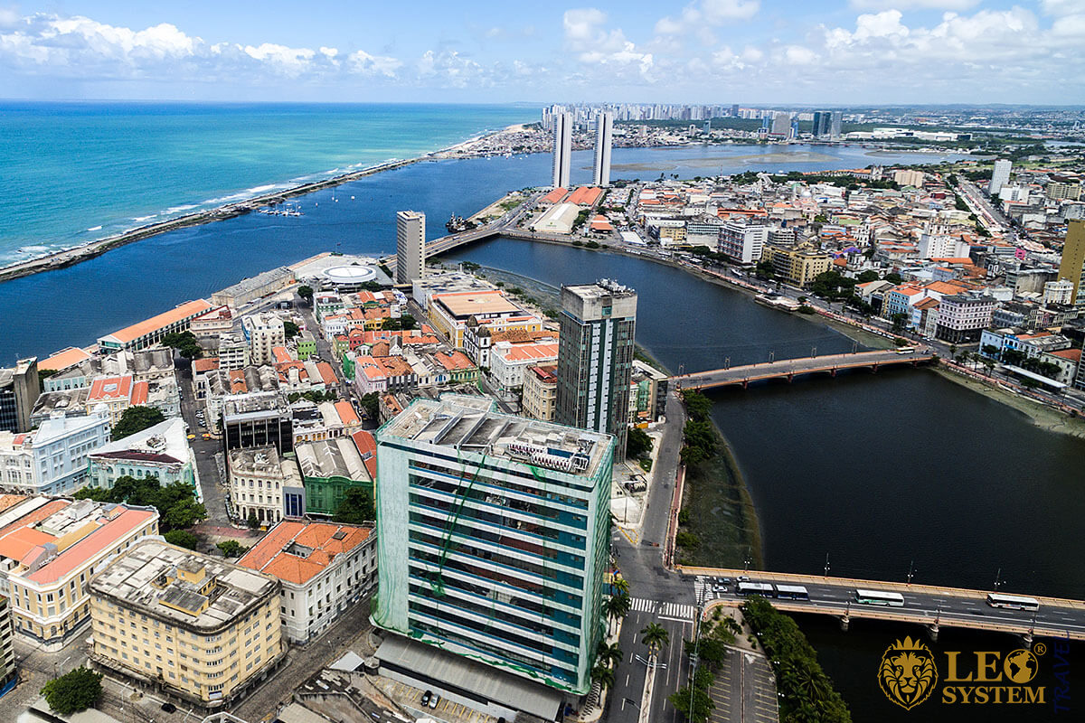 View of bridges and buildings in the city of Recife, Brazil