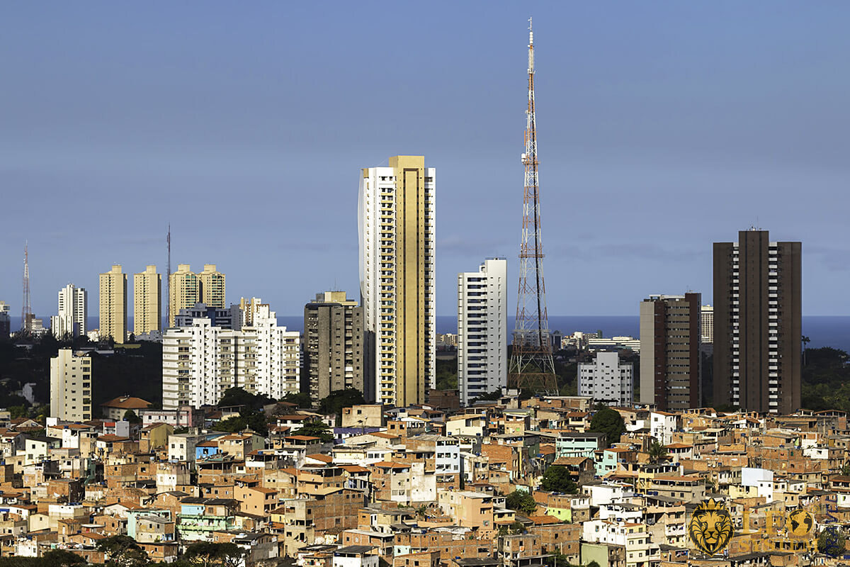 Panoramic view of streets and buildings in the city of Salvador, Brazil