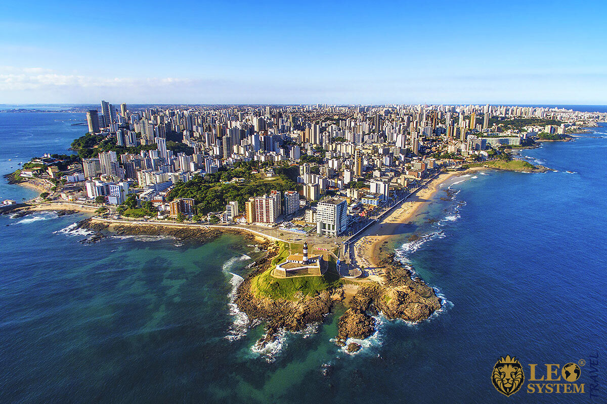 Amazing aerial view of Salvador City in Brazil