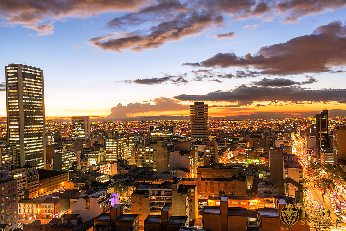 Panoramic view of the night city of Bogota, Colombia