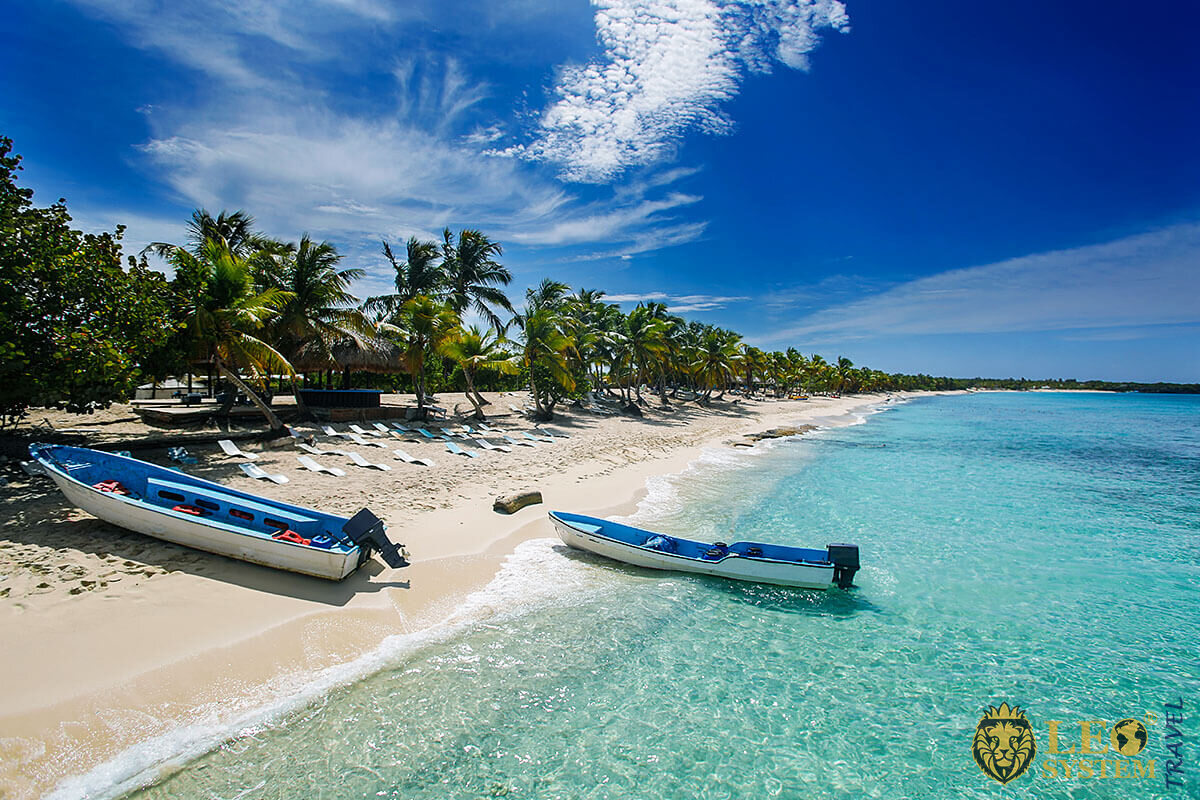 Image of fishing boats and palm trees in Boca Chica, Dominican Republic