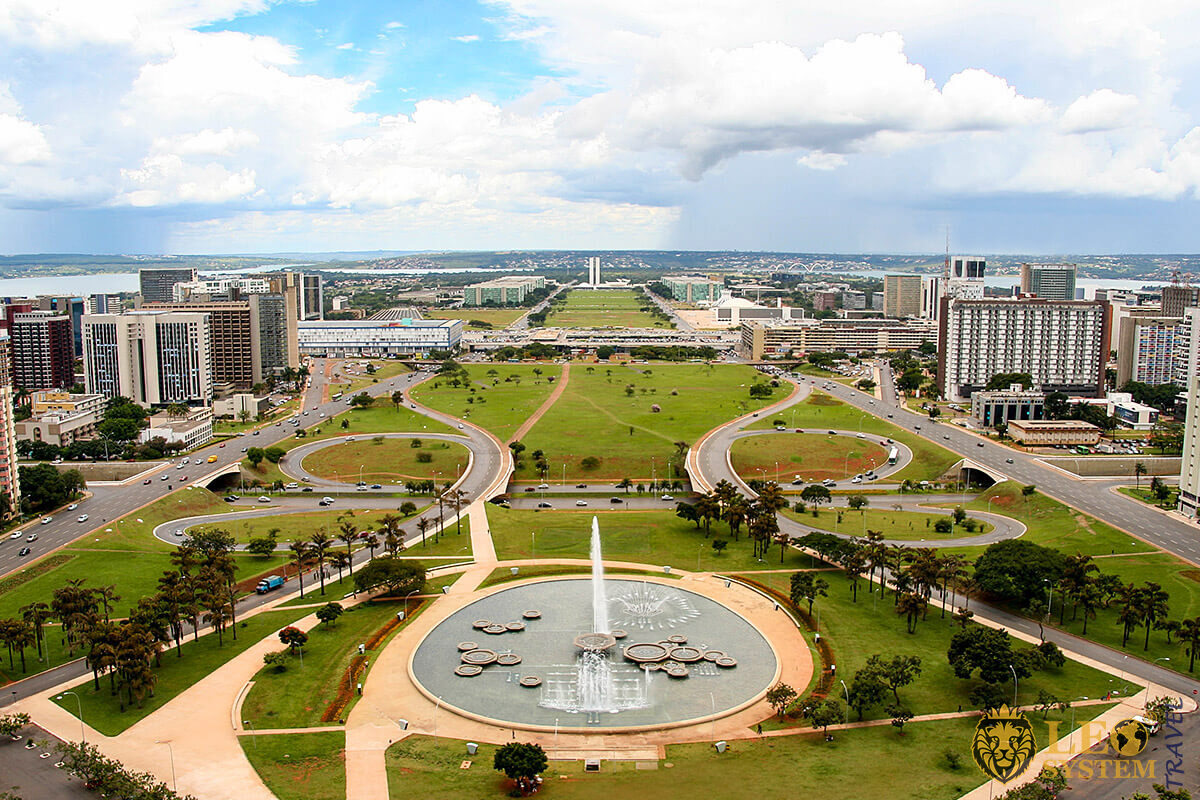 View of the fountain and city streets of the capital of Brazil - Brasilia