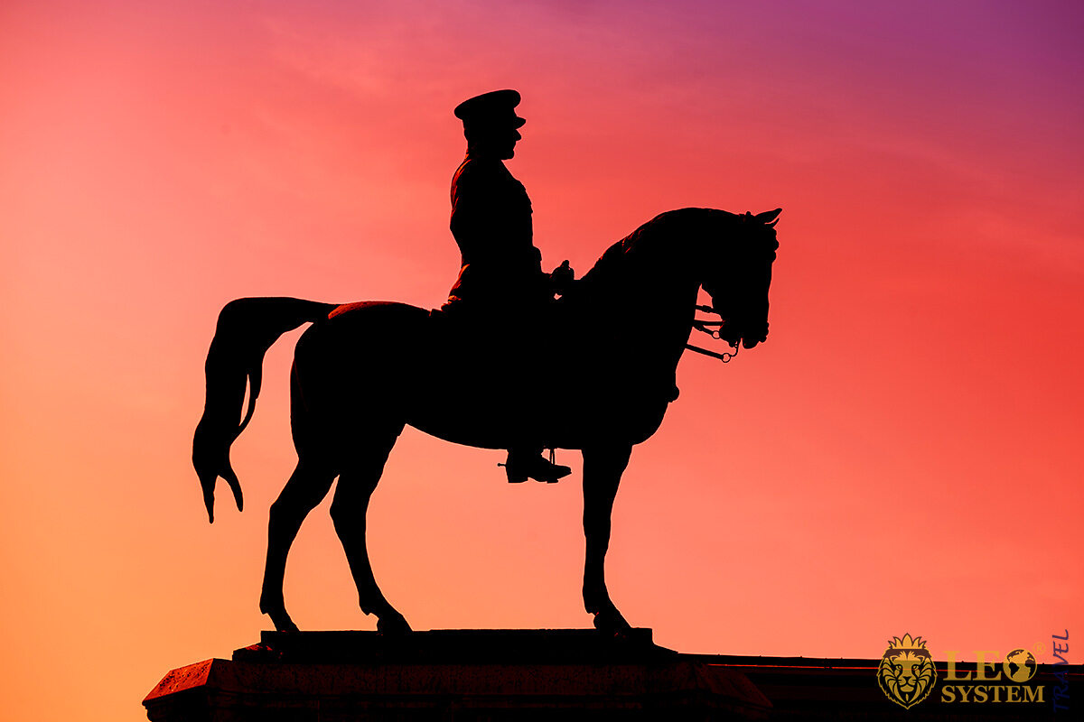 Mustafa Kemal Ataturk statue silhouette, city of Ankara, Turkey