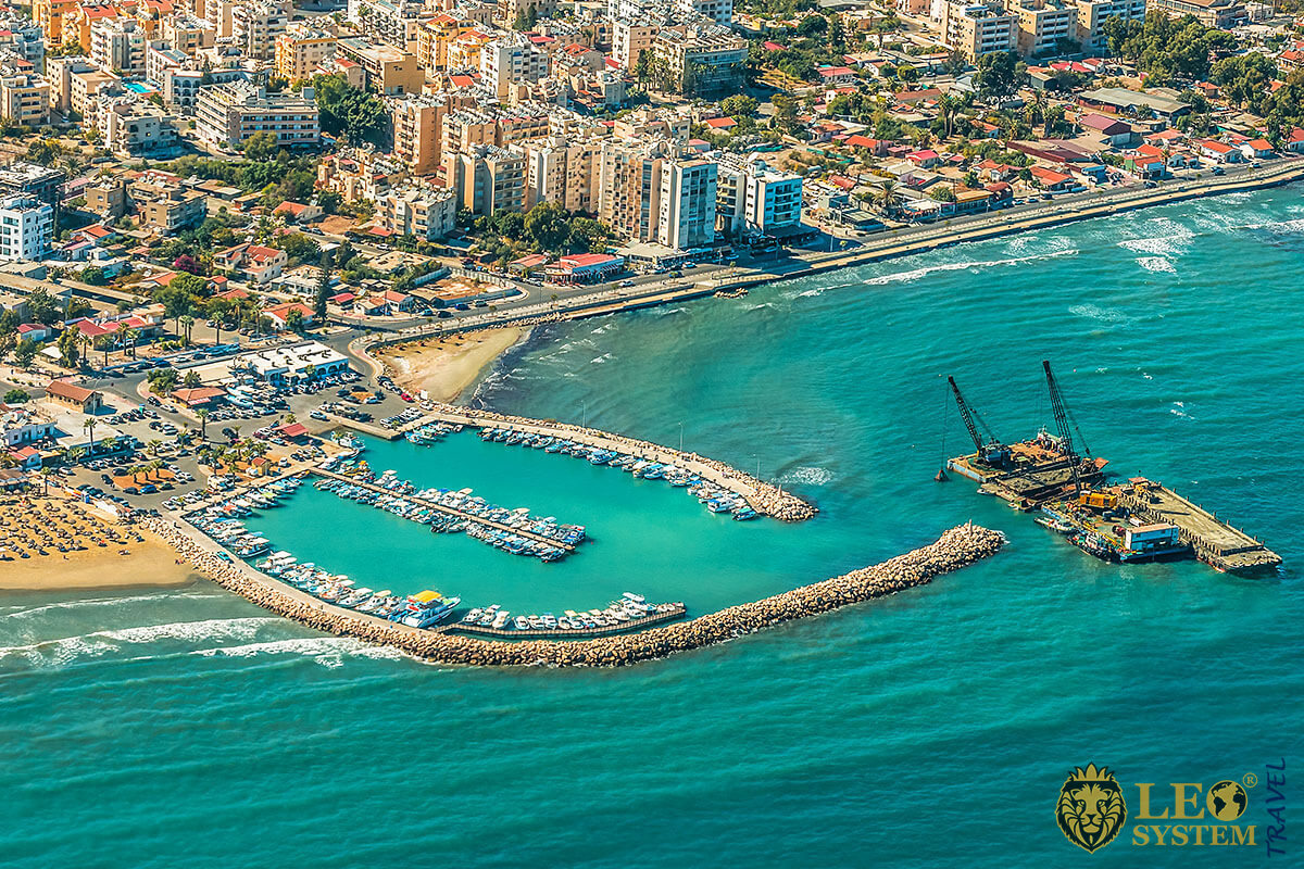 Aerial view of the seaport and beach in the city of Larnaca, Cyprus