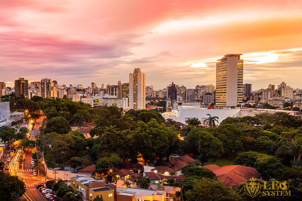 Nice view of the sunset in the city of Belo Horizonte, Brazil