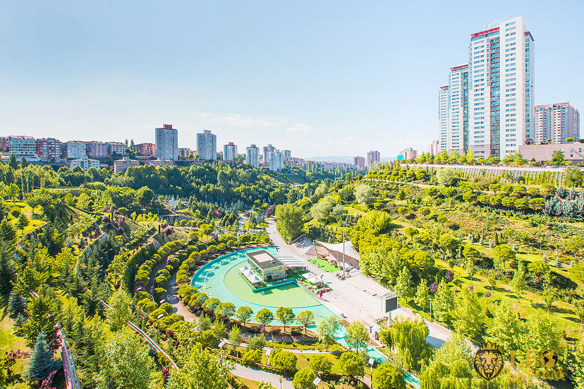 Aerial view of the park in Ankara