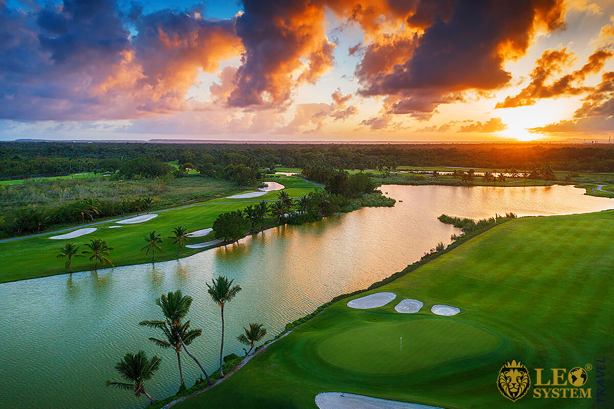 Golf course at sunset Punta Cana, Dominican Republic