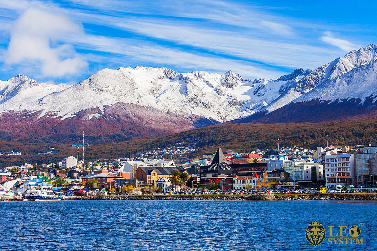 View of houses and mountains in Ushuaia, Argentina