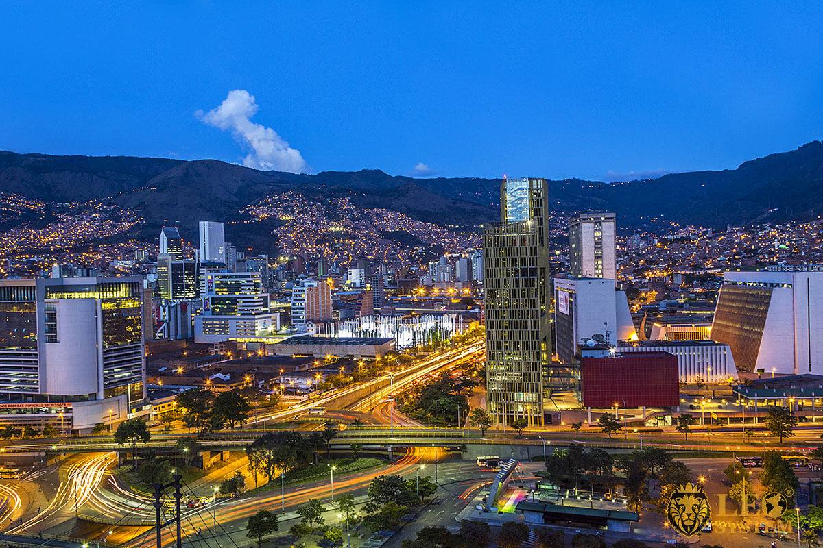 Evening view of the city of Medellin