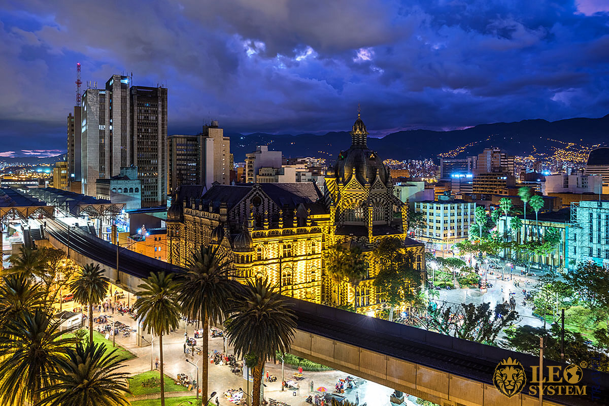 View of the night streets and buildings in Medellin, Colombia