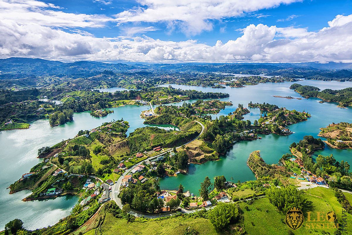 Panoramic view of Guatape, Colombia