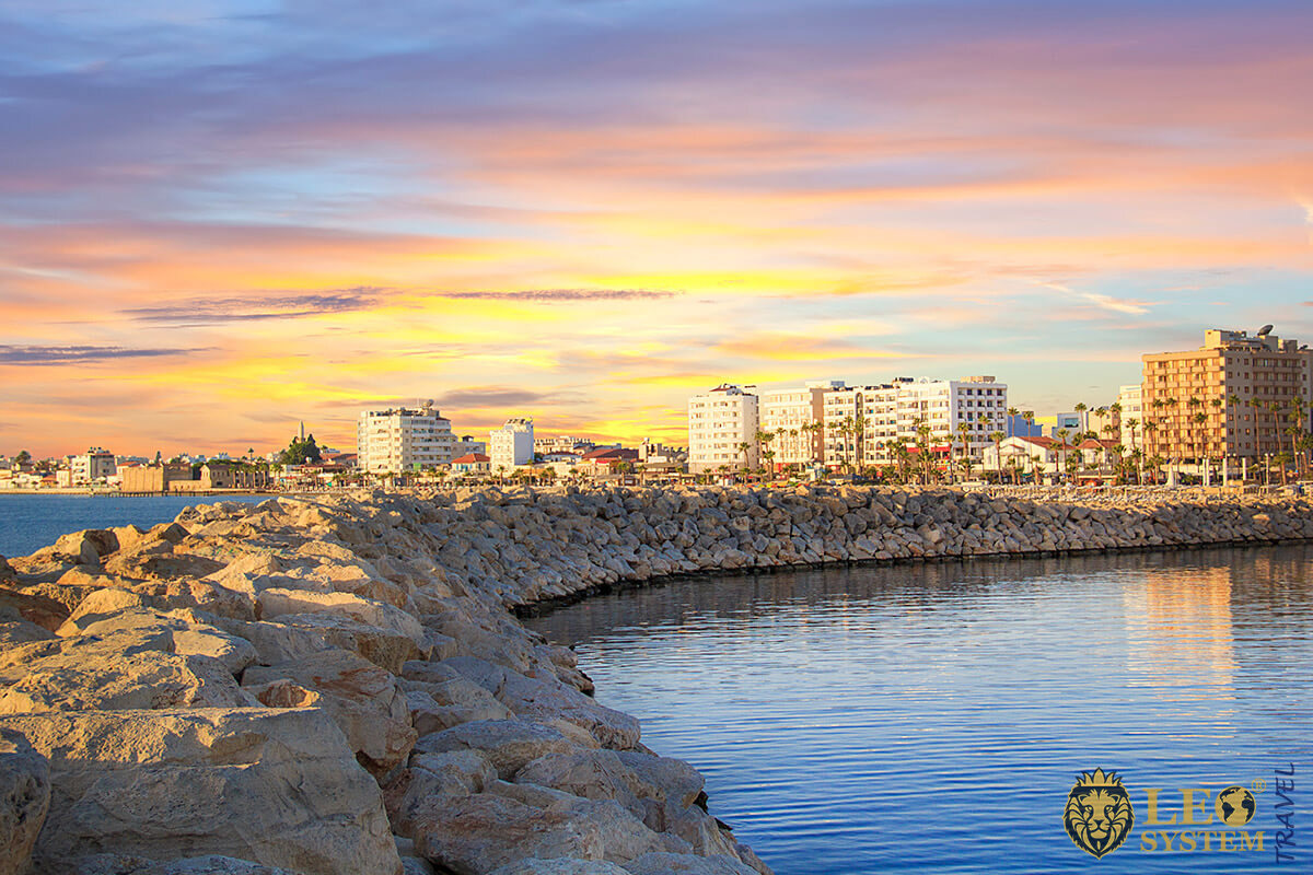 Charming view of the beach at the time of sunset, Larnaca city, Cyprus