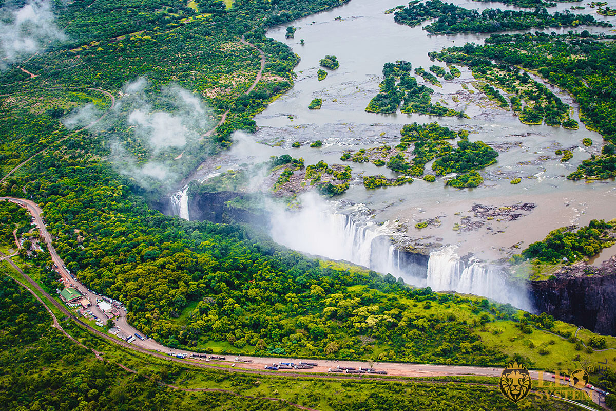 Magnificent view of the Victoria Falls waterfall and nature in Africa