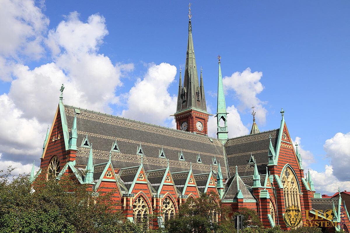 View of Oscar Fredrik Church in Gothenburg, Sweden