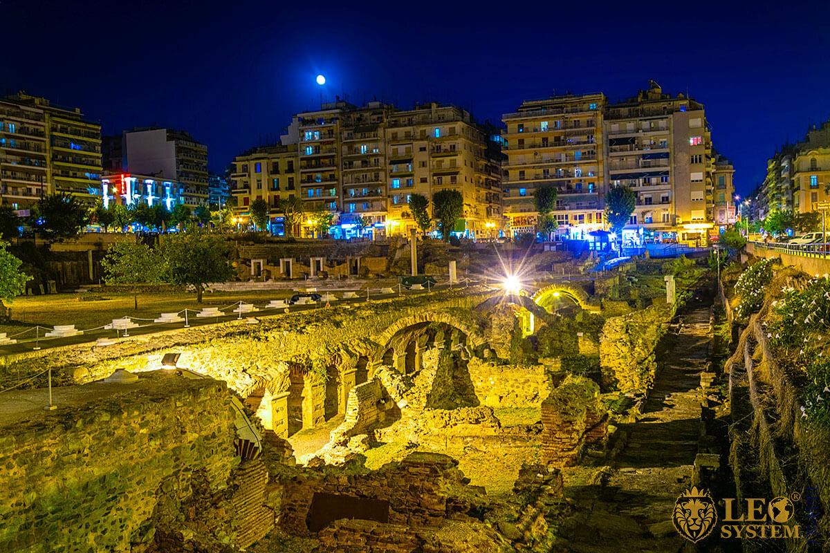 Night view of ancient Agora, Thessaloniki, Greece
