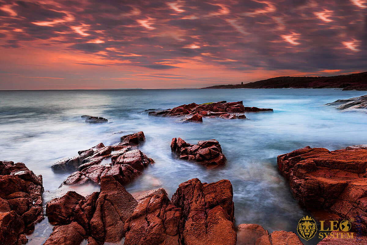 Magnificent sunset and cliffs in city of Newcastle, Australia
