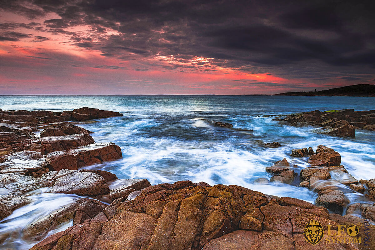 Image of beautiful cliffs and red sunset, Newcastle, Australia