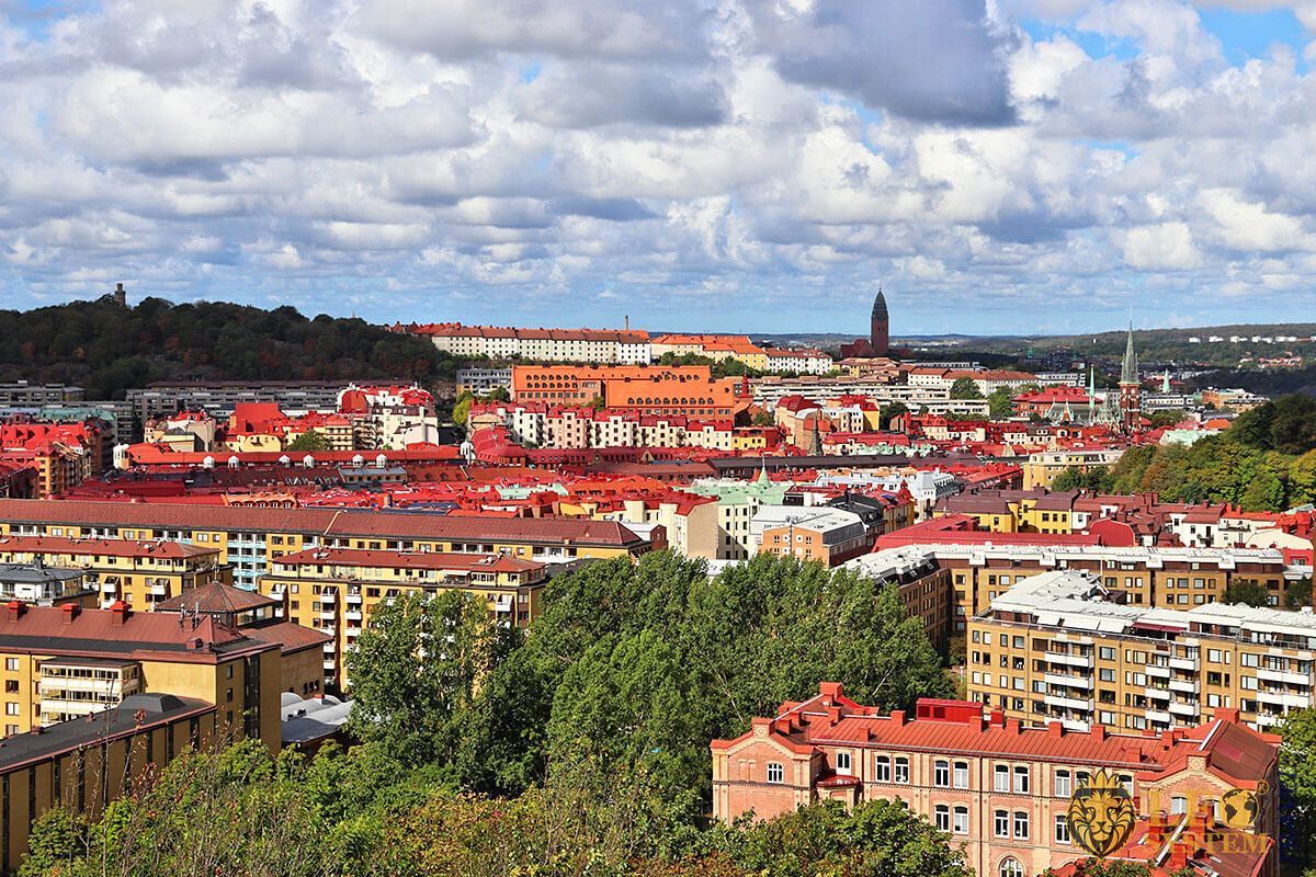 Great view of the city of Gothenburg, Sweden