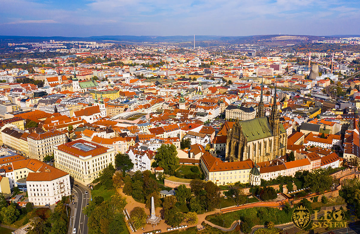 Panoramic aerial view of the city of Brno