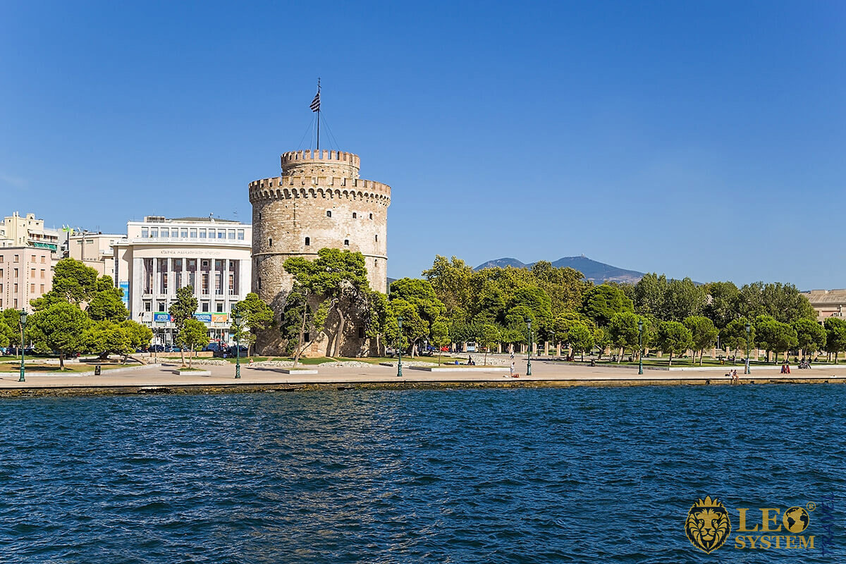 View of the White Tower Square, Thessaloniki, Greece