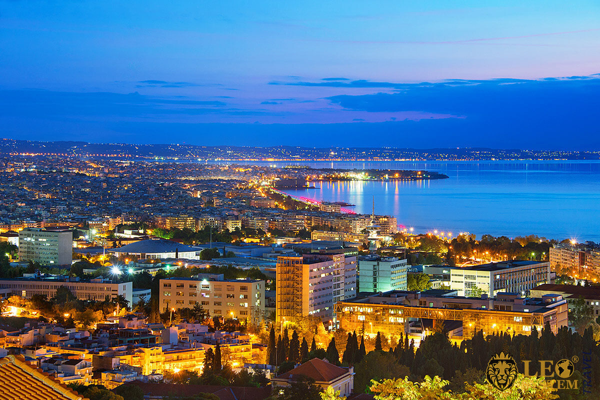 Night panoramic city view of Thessaloniki, Greece