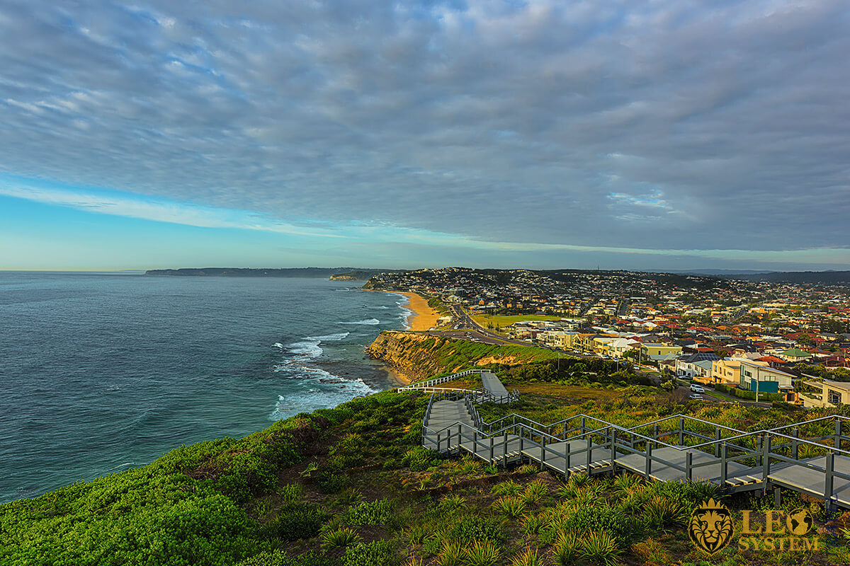 Image of Memorial Walk and beach, city of Newcastle, Australia
