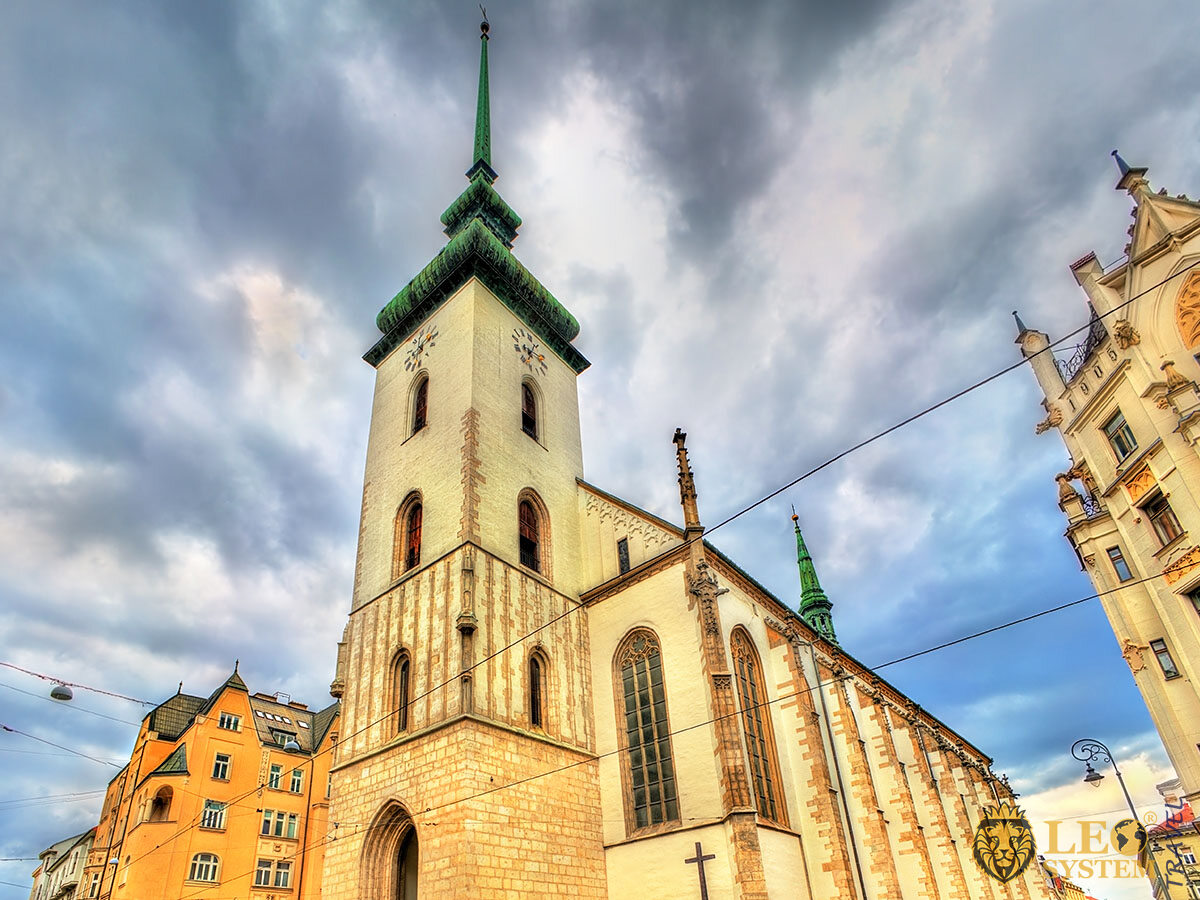 View of St. James Church in the old town of Brno, Czech Republic