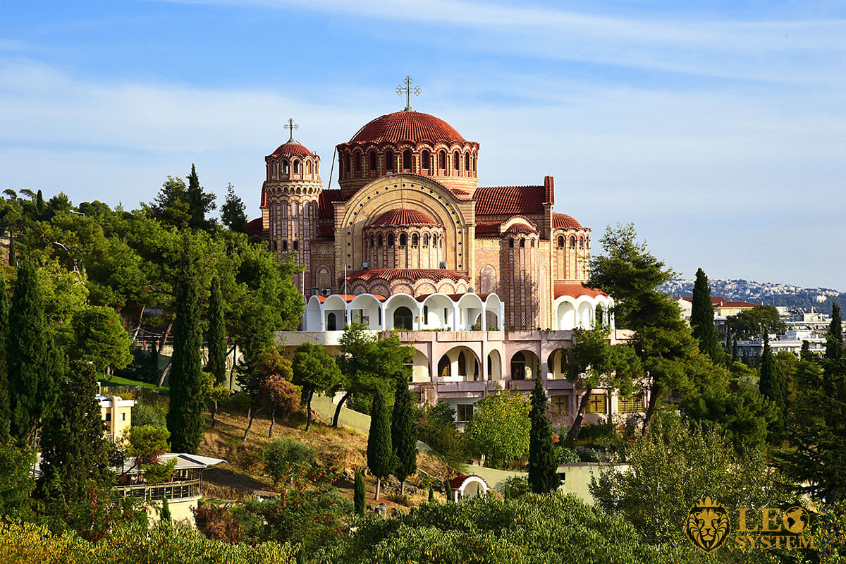Great view of the landscape and Church of St. Paul in Thessaloniki, Greece