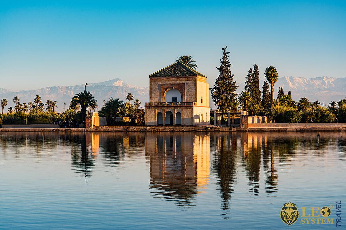 Saadian Pavilion at the Menara Gardens in Marrakesh, Morocco