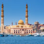 Magnificent view of the Mosque and the Port, city of Hurghada, Egypt