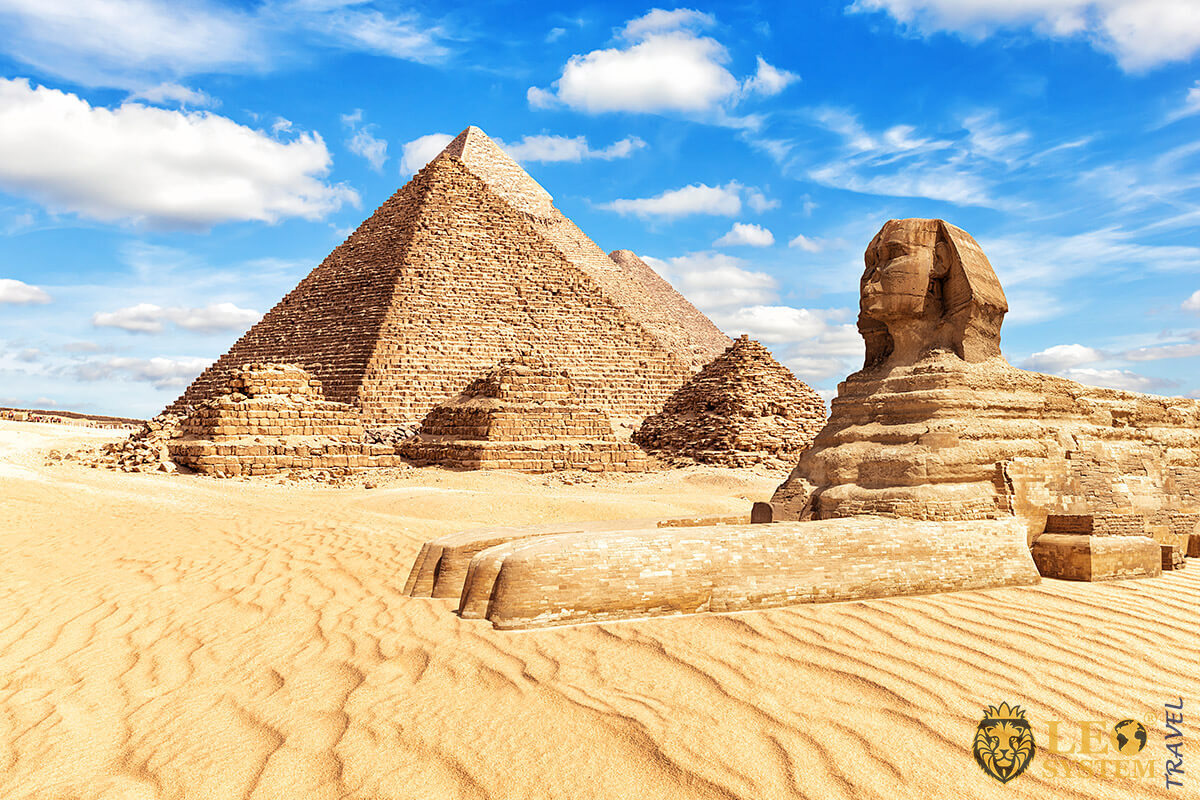View of the Great Sphinx and the Pyramids at Giza, Egypt