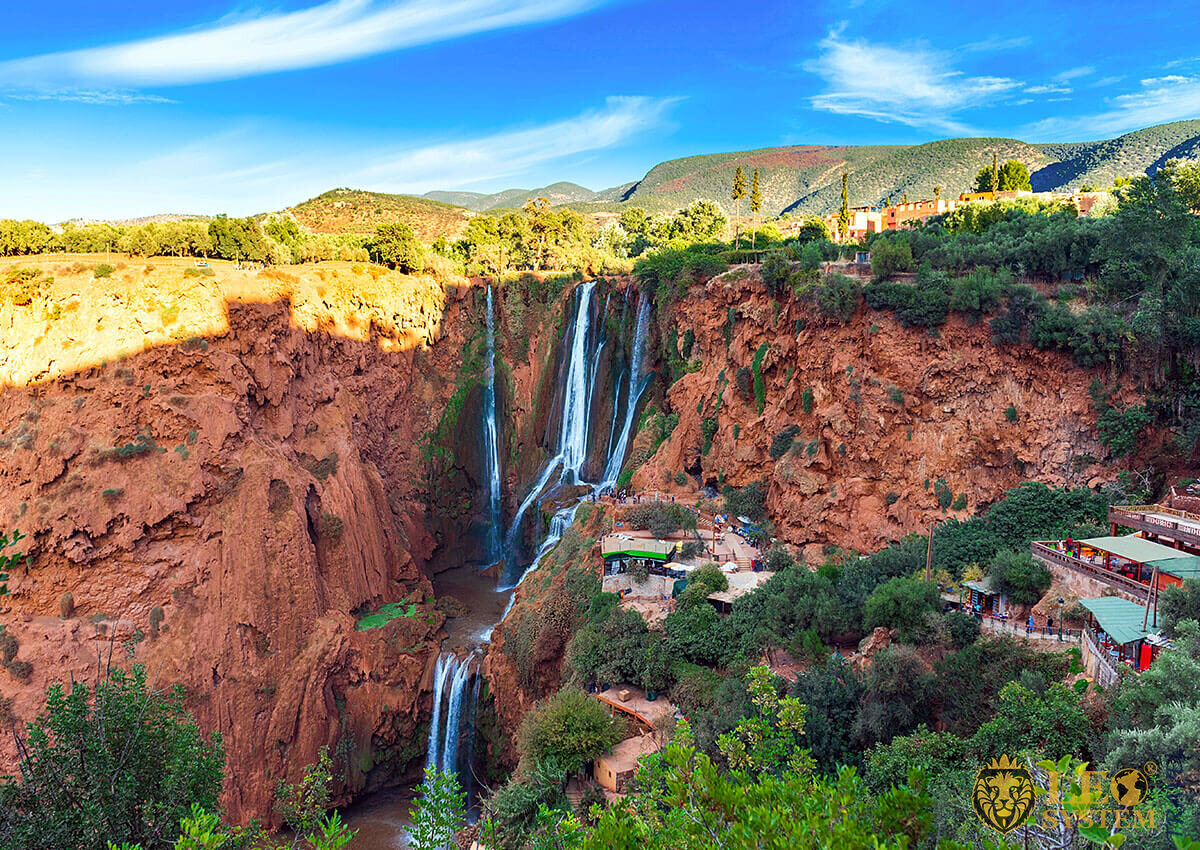 View of the Ouzoud Falls waterfall in Marrakesh, Morocco