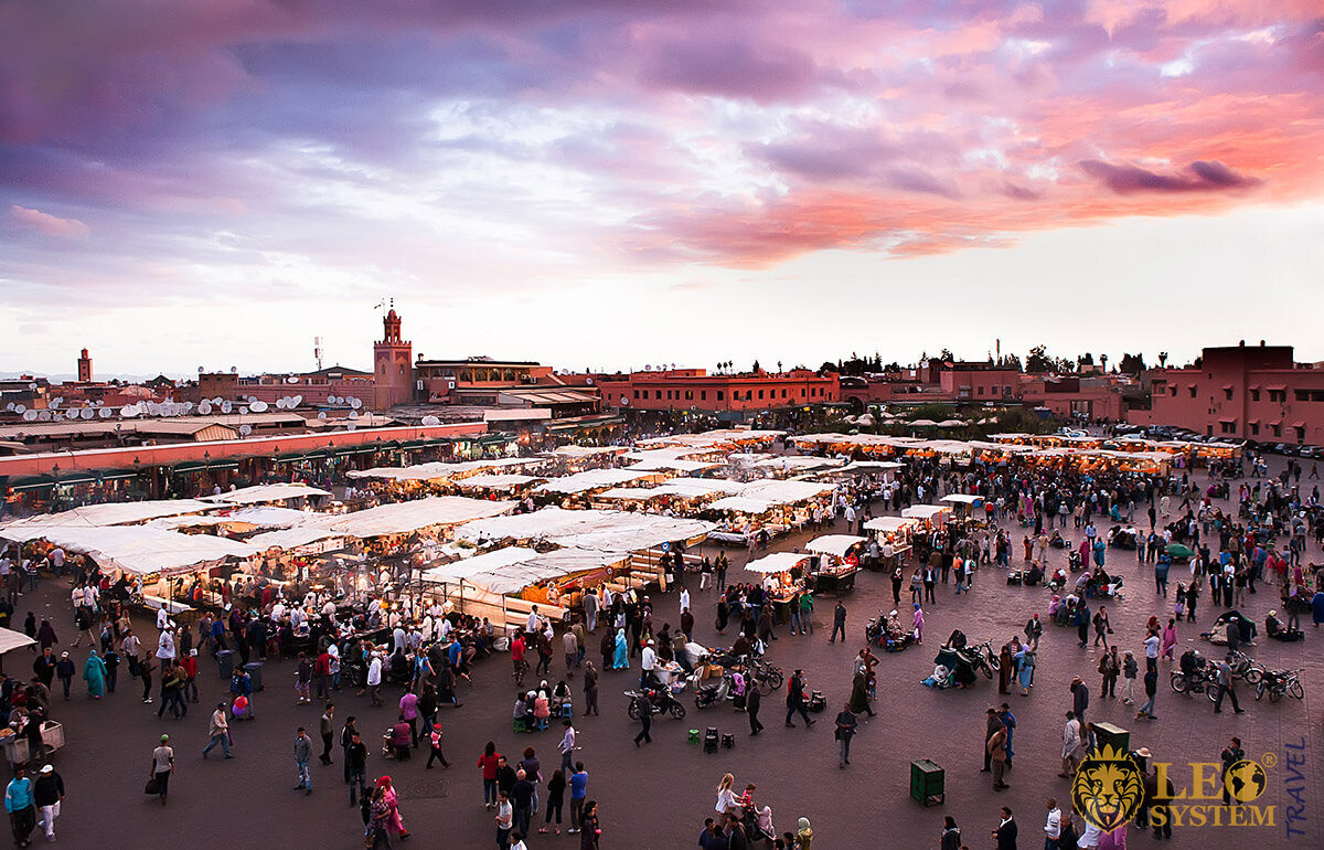 Panoramic view of the market in Marrakesh, Morocco