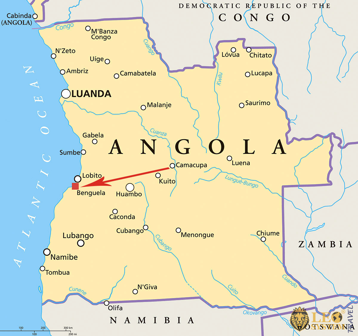 Image of a map showing the location of Benguela, Angola