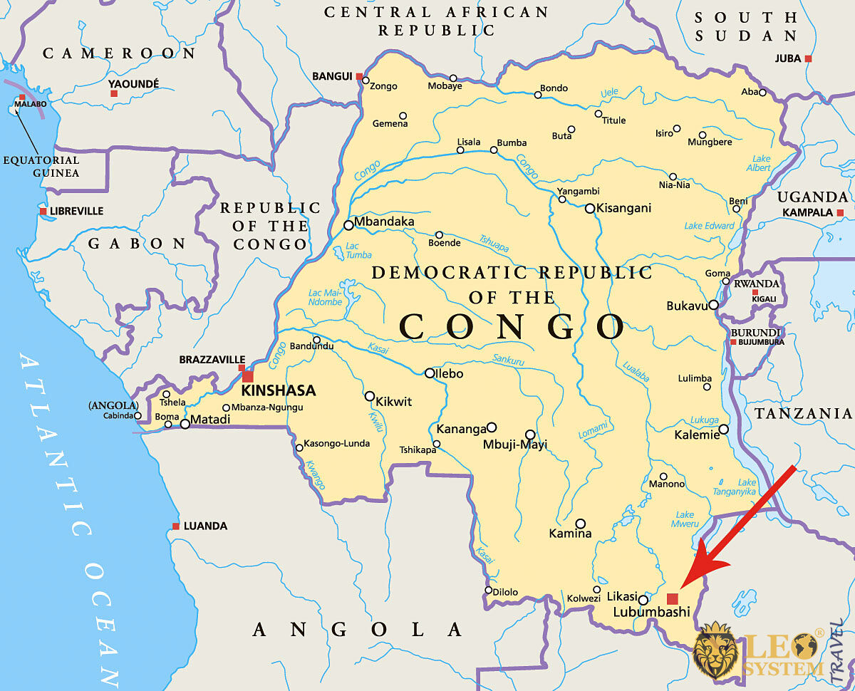 Image of a map showing the location of the city of Lubumbashi, Republic of the Congo