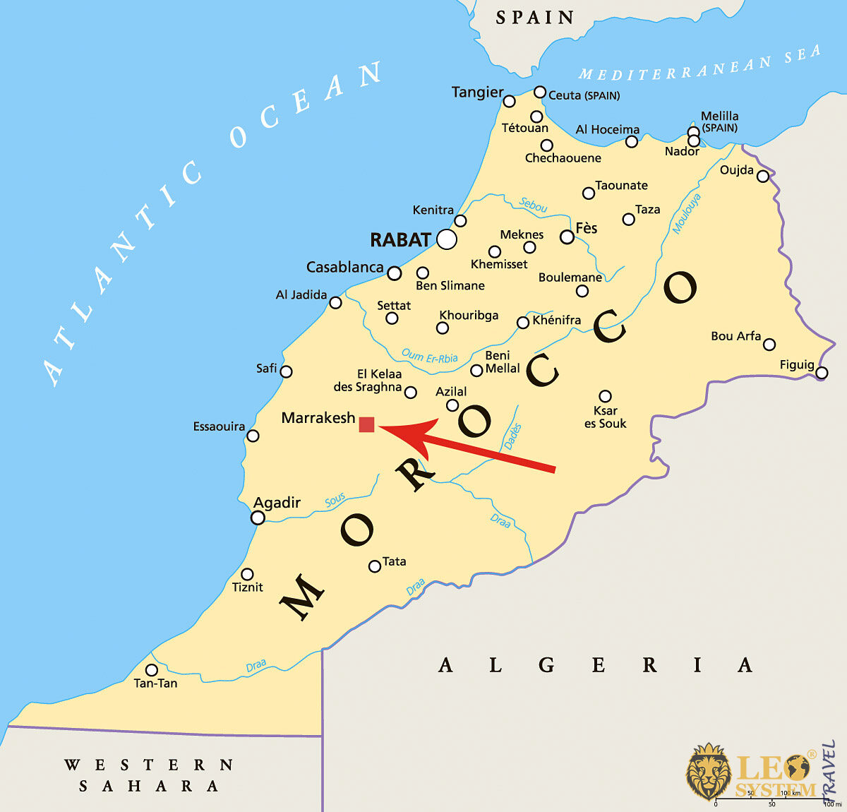 Image of a map showing the location of the city of Marrakesh, Morocco