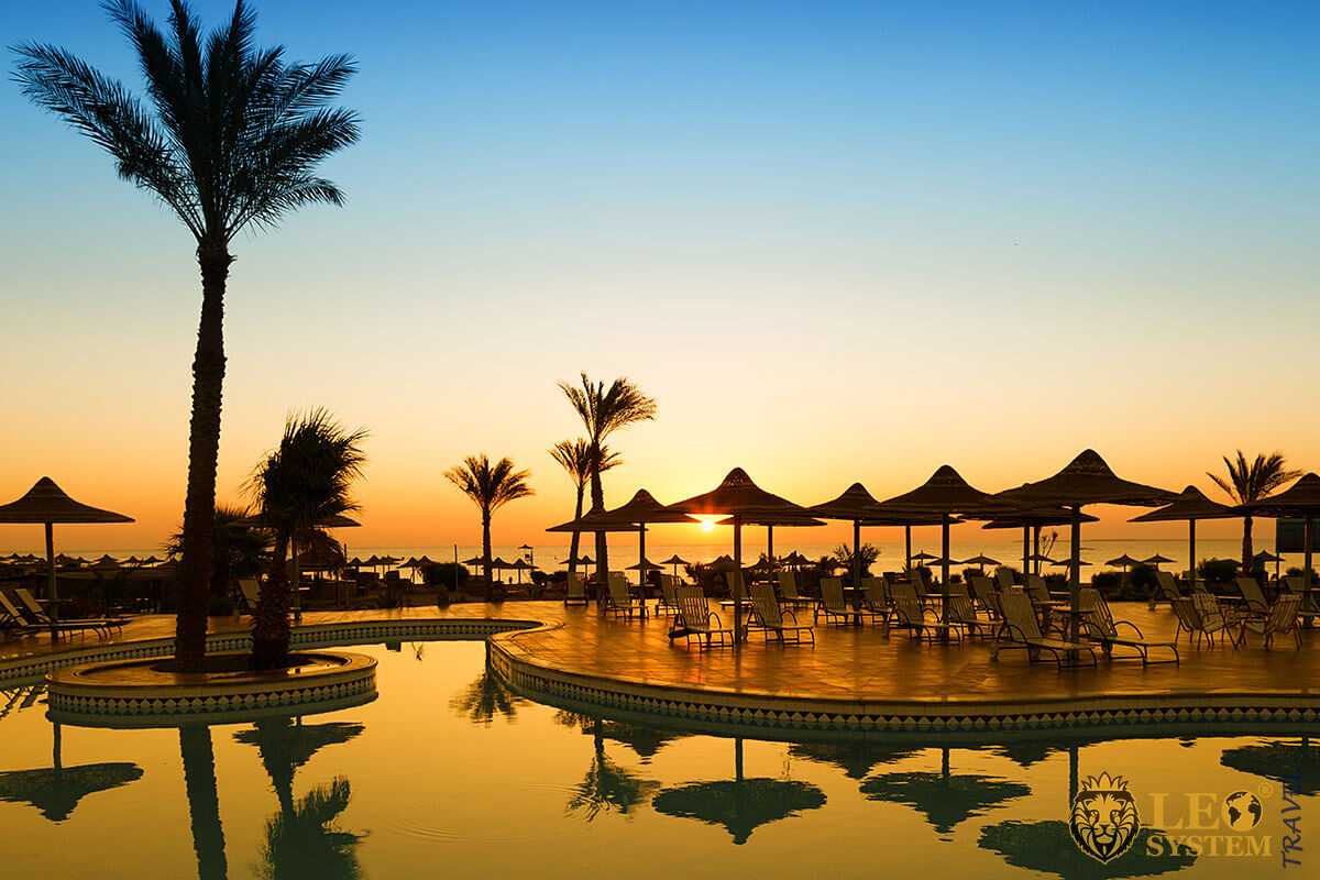 Stunning view of the red sea at dawn, Hurghada, Egypt